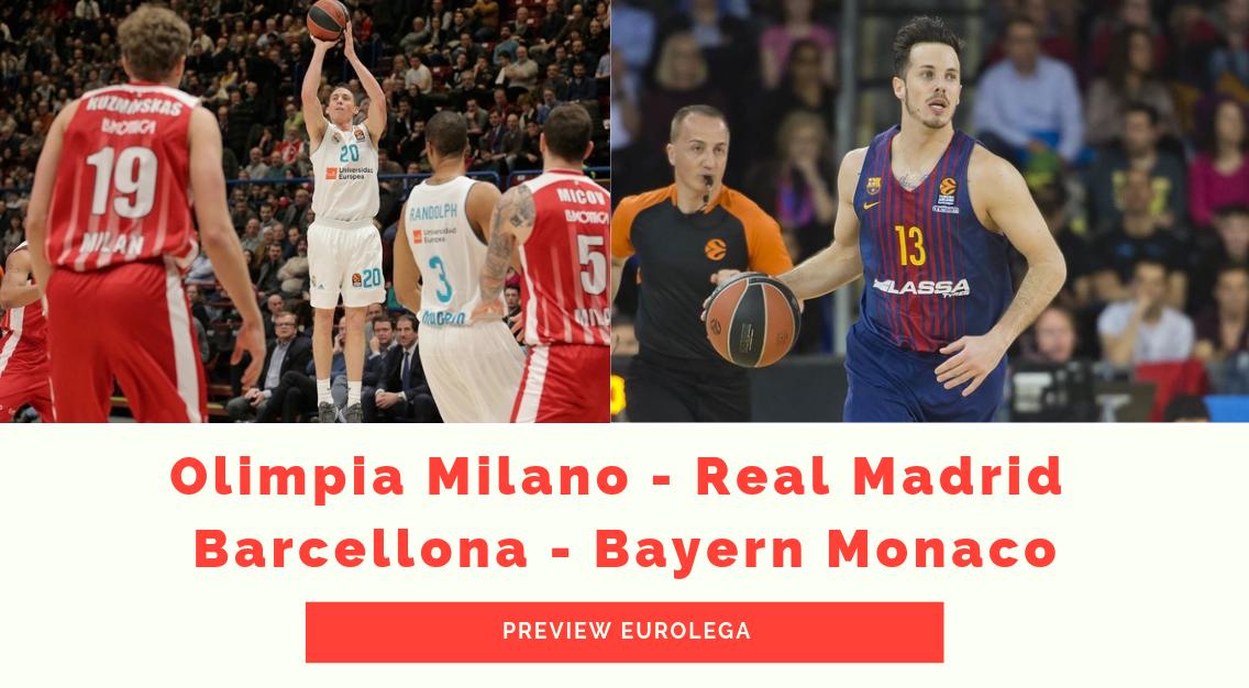 Preview Eurolega: Olimpia Milano – Real Madrid e Barcellona – Bayern Monaco
