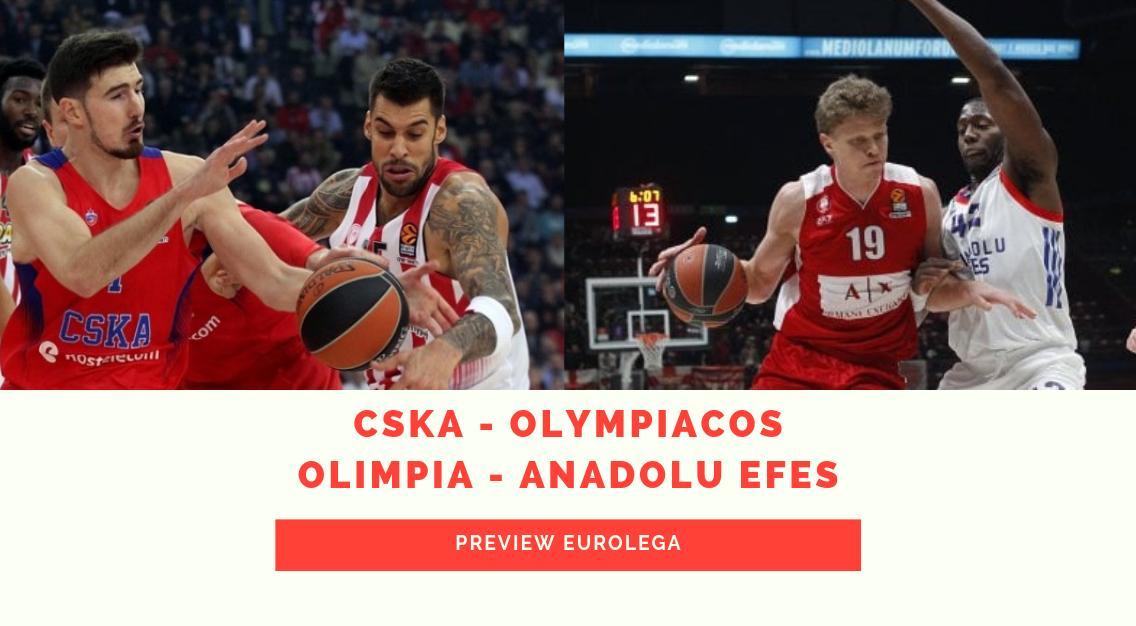 Eurolega: Preview CSKA – Olympiacos e Olimpia – Anadolu Efes