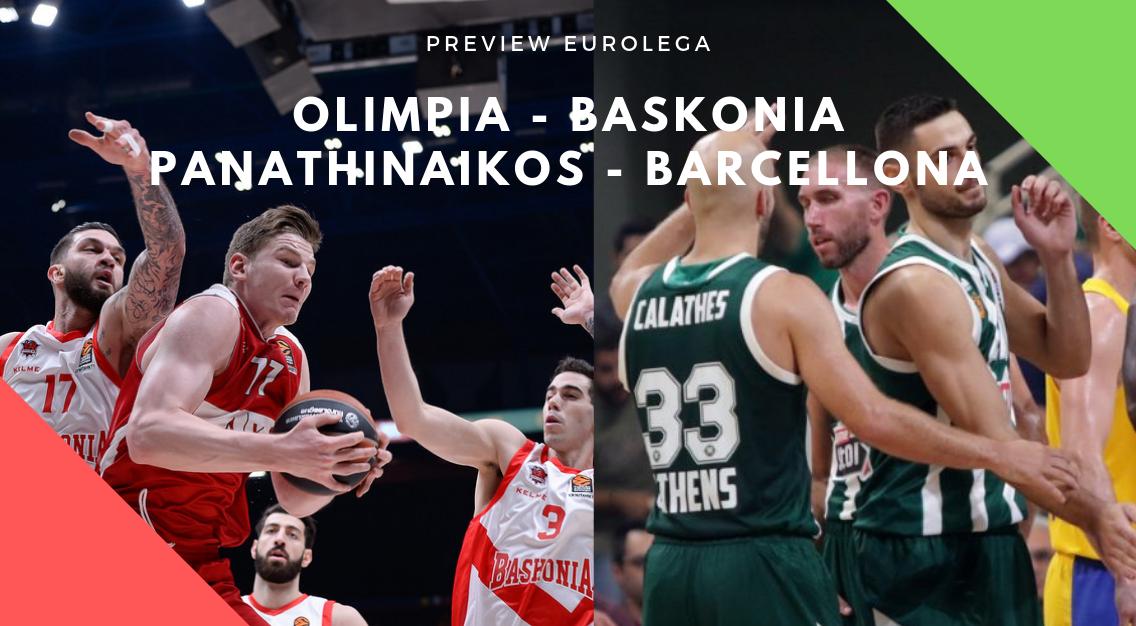 Preview Eurolega: Olimpia – Baskonia e Panathinaikos – Barcellona